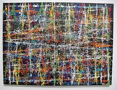 """""""This is an abstract painting done without using brushes. The paint is applied to fishing line which is connected together tightly on the back side of the canvas with rubber bands. The wet coated fishing line is pulled tight, then snapped against the canvas creating not only straight lines but intricate and delicate splatters of paint. It is currently available at $700. (SOLD) This painting is in a private collection in Indiana."""