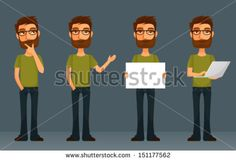 cute cartoon character - young man with beard and glasses, in various poses