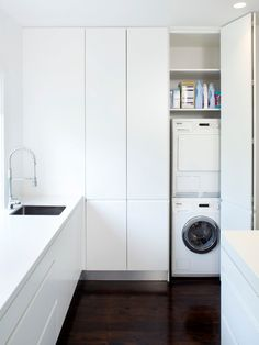 Bauhaus look utility room by Art of Kitchens Pty Ltd Bauhaus-Look Hauswirtschaftsraum by Art of Kitchens Pty Ltd - Own Kitchen Pantry Utility Cupboard, Pantry Laundry Room, Laundry Room Storage, Laundry In Bathroom, Kitchen Storage, Laundry Area, Kitchen Pantry, Diy Kitchen, Hall Cupboard