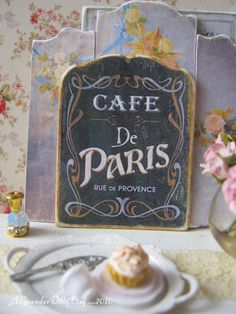 Cafe de Paris Sign for Dollhouse by alavenderdilly on Etsy, $5.00