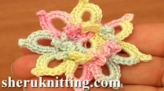 Crochet Small Pretty 8 Petal Flower Tutorial 85 Free Crochet Flower Patterns  http://sheruknitting.com/videos-about-knitting/crochet-flower-lessons/item/731-crochet-small-pretty-flower-tutorial-85.html  In this crochet video tutorial you will learn how to crochet a small 8-petal flower with raised center made of chains.