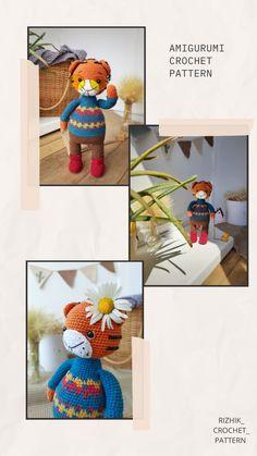 Amigurumi Toys, Crochet Patterns Amigurumi, Crochet Toys, Tiger Pattern, A Hook, Cute Crochet, Slip Stitch, Handmade Toys, Single Crochet