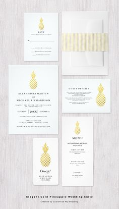 In LOVE with this stylish look for a wedding! This modern invitation suite features a faux gold tropical pineapple and elegant matching gold stripes in a trendy, glam design.