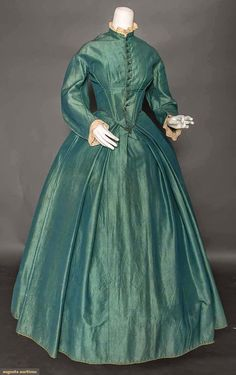 TEAL WOOL DAY DRESS, 1850s