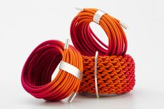 Gilly Langton - Bracelets, hand dyed elastic and silver
