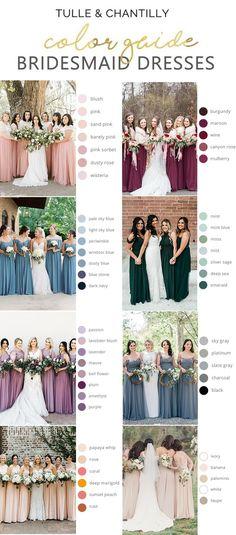 Tulle and Chantilly bridesmaid dress color guide 2020 Cute Wedding Ideas, Wedding Goals, Perfect Wedding, Wedding Planning, Wedding Day, Wedding Inspiration, Budget Wedding, Summer Wedding, Blush Bridesmaid Dresses