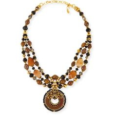 Jose & Maria Barrera Multi-Strand Pendant Necklace ($740) ❤ liked on Polyvore featuring jewelry, necklaces, multi colors, 24 karat gold necklace, multi-strand necklace, multicolor bead necklace, chain necklace and multi colored bead necklace