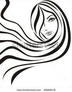 beautiful  young woman with long hair in outlines concept by baldyrgan, via Shutterstock