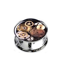 Pair Stainless Steel Steampunk Plugs for Stretched Ears - Pick Your Size, Custom Made