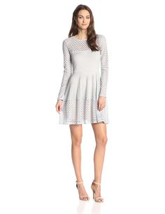 Kyla A-Line Lace Dress with Long Sleeves by BCBGMAXAZRIA