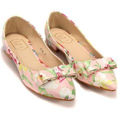 ae1d375095c6 Floral Pointed Flat Shoes With Bow Detail