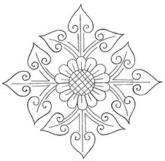 "Free Embroidery Pattern: Sunflower Cross -  Here's a free hand-embroidery pattern of a ""sunflower cross."" I wasn't sure what else to call it, as the pattern includes both a cross motif and a sunflower. I'll classify this as ""church embroidery,"" although, as you can see by the design, it's a great embroidery pattern for anything at all!"