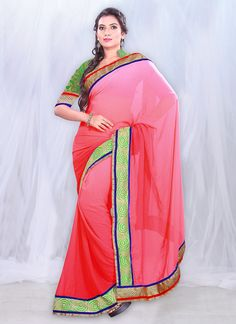 Trendy Pink Faux Georgette #Saree