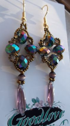 Sparkling purple blue and gold beaded earrings. Deborah Goodlove