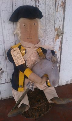 Prim George Washington with his horse, made by Rabbit Ridge Primitives