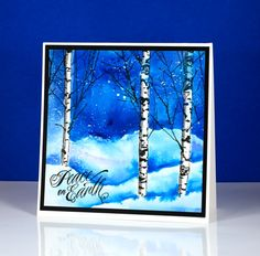 Stamps: Nature's Silhouettes, Hello Winter, Into the sky Penny Black  Paints:   Brusho powders (Colourcraft) Inks:  Versafine onyx black ink, London fog memento marker (Tsukineko) Cardstock:  hot pressed watercolour paper Also: masking fluid | Birches in snow Heather Telford (xmas3, wc6)