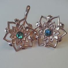 Lotus Weights in rose gold plating and abalone inlay