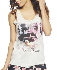 """Oh how we Love our classics! Totally cool tank with a scene from Sixteen Candles™ within a heart screen printed along the front a heathered knit body, scoop neck, racer back, and finished edges.  Model is 5'9"""" and wears a size small   100% Rayon Hand Wash USA"""