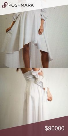 WHITE LOLITA DRESS-SMALL-MEDIUM-LARGE WHITE LOLITA DRESS-HIGH-LOW MAXI-HAS BUILT IN BRA AND CAGE-SLEEVES HANG DOWN THE ARM-SLEEVES HAVE PIN TUCKS-WELL MADE Tea n Cup Dresses Maxi