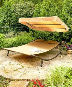 Whether you& poolside or on your patio, this Double Sun Lounger with Canopy will keep you comfortable. Its spacious bed is partially covered by an adjustable Outdoor Lounge, Outdoor Living, Outdoor Decor, Canopy Outdoor, Outdoor Ideas, Backyard Ideas, Garden Ideas, Outdoor Landscaping, Outdoor Gardens