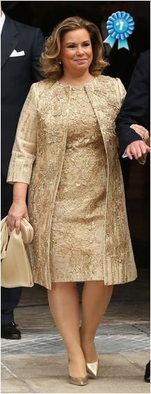Grand Duchess Maria Teresa wearing Elie Saab. This ornamented gold coat and dress is stunning!
