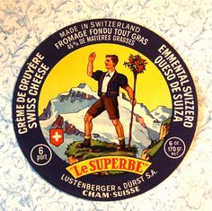 Vintage Swiss Cheese Label, Advertising, Alps, Mountains, Hiker