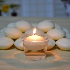 50 Pcs Round White Floating Candle Disc Floater Candles Wedding Party Home Decor…