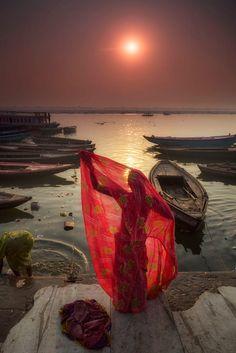 Sari on the Ganges, Varanasi, India