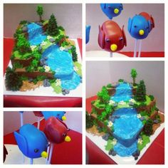 Forest themed cake (we added toy cats and leopard and tiger print candles) and bird cake pops, perfect for a Warriors Cats party! Made by All About Design Cakes in Mooresburg, TN