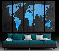 Turquoise world map canvas print art 3 panel split triptych 5 panel split dodger blue matte black world map canvas art print hand stretched on 15 deep wooden stretcher bars this giclee print includes gumiabroncs Image collections