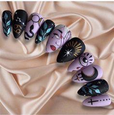 Goth Nail Art, Goth Nails, Judy Nails, Witchy Nails, Bridal Nails, Cute Acrylic Nails, Stylish Nails, Nail Manicure, Halloween Nails