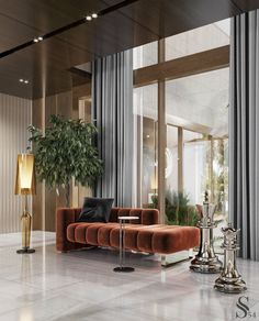 Contemporary Hallway, Contemporary Interior Design, Luxury Interior Design, Home Room Design, Living Room Designs, Living Room Decor, House Design, Luxury Furniture, Furniture Design