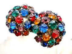 Art Deco Czech Rhinestone Earrings Multi Colored Screwback Antique Prong Set | eBay