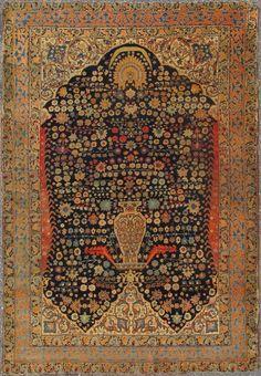 "Antique Tabriz Rug - 13-1005   Tabriz - 4'4"" x 6'0""   Wool  - All Over - Pile, Origin Iran, Circa: 1850"