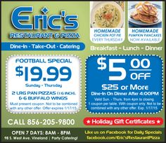 Eric's Restaurant & Pizza: Chicken Pot Pie, Homemade Pumpkin Pancakes, Dine-In, Take-Out, Catering, Vineland, NJ, Football Special, $5.00 OFF, Greek Restaurant