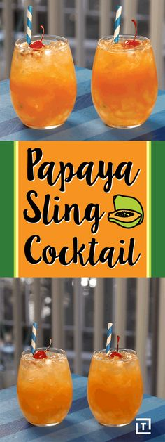 DrinksMadeEasy is hanging on to summer with this tropical papaya sling cocktail, made with fresh papaya juice, gin, and lime juice. Top it off with club soda and a cherry for a tropical treat that'll keep you feeling like you're on vacation.
