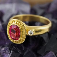 Solid genuine 22K yellow GOLD ring set with a Pink SPINEL gemstone, Diamonds and decorated with Bali granulation work $3400