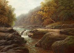 William+Mellor-A+River+Scene+With+Anglers