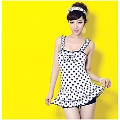 Women's Siamese-Style Conservative Covered Belly Swimsuit - USD $ 27.99
