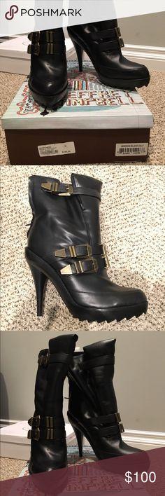 Jeffrey Campbell's heeled boots JC's Marrow black high heeled boots, have original box. Never been worn. Jeffrey Campbell Shoes Heeled Boots