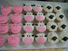 farm animal cupcakes - pig, cow, sheep