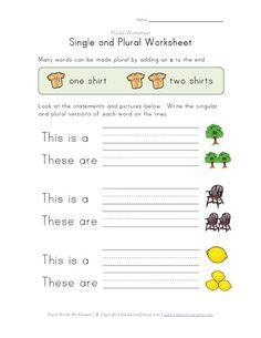 single plural worksheet
