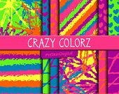 Crazy Colorz Digital Paper Pack in Psychedelic Multicolor Combos for birthdays, scrapbooking, invitations, cards & crafts
