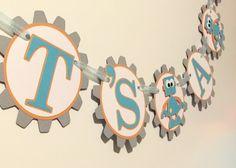 Robot Baby Shower Banner by ALittlePaperHouse on Etsy Diy Birthday Decorations, Baby Shower Decorations, Cricut Baby Shower, Robot Theme, Baby Girl First Birthday, Birthday Boys, Birthday Ideas, Transformer Birthday, Grey Baby Shower