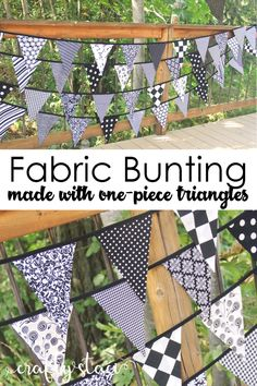 Fabric Bunting with One-Piece Triangles — Crafty Staci Fabric Garland, Bunting Garland, Fabric Bunting, Diy Garland, Buntings, Garlands, Garland Ideas, Bunting Flags, Sewing Crafts