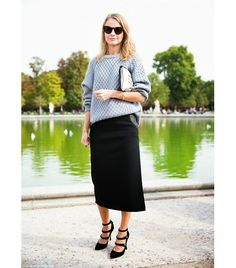 @Who What Wear - While a traditional pencil skirt will always do the trick, the most fashion-forward silhouette of the moment is a slim midi.  Photo courtesy ofCollage Vintage