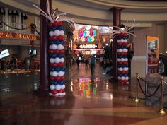 6 balloon column in red, white and blue