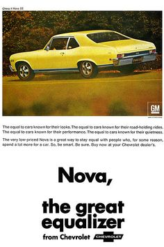 1968 Chevy Nova - the great equalizer ad poster @everettchevy www.everettchevy.com