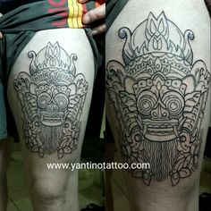 #barongmasktattoo  #ubudtattoobali  #tattoostudio #outlinetattoo #balitattoostudio #mashtattoo #rangda www.yantinotattoo.com