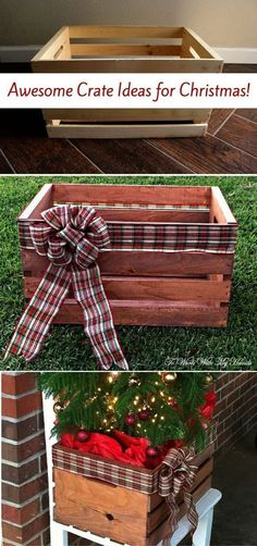DIY Faux Wood Crate Planter for Christmas. Turn the simple wood crate into this . DIY Faux Wood Crate Planter for Christmas. Turn the simple wood crate into this beautiful planter for your Christmas decoration. Noel Christmas, Winter Christmas, Christmas Wreaths, Christmas Cards, Amazon Christmas, Christmas Vacation, Christmas Music, Homemade Christmas, Diy Christmas Boxes
